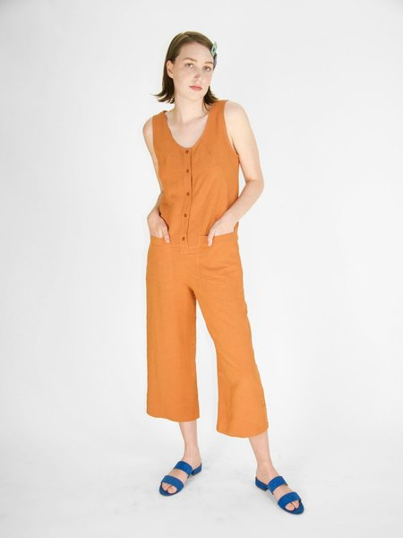 Eve Gravel Midi Jumpsuit - Terracotta