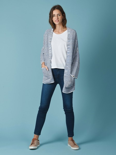Indi & Cold Knitted Kimono-Style Striped Cardigan - Blue Stripes