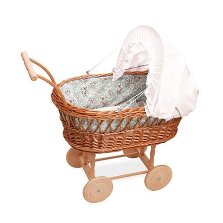 Kids Petit Collin Wicker Pram with Floral Bedding