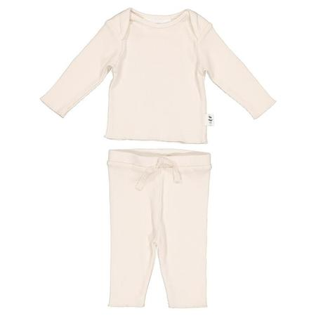 KIDS Moumout Paris Baby Two Piece Set Twins Long Sleeved T-shirt And Leggings - Milk White
