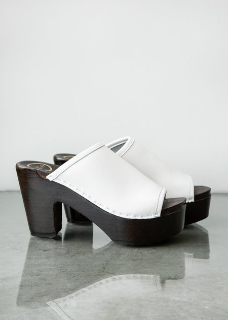 No.6 Daria Clog on Platform - White/Coffee