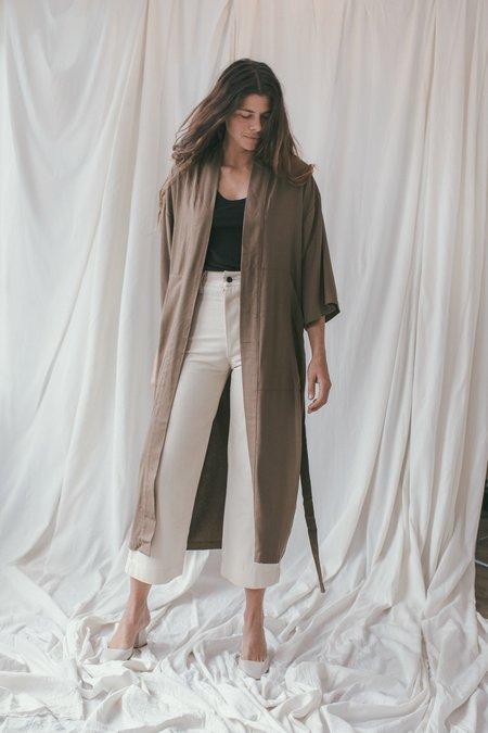 Ozma Herringbone Silk Noil Robe Jacket