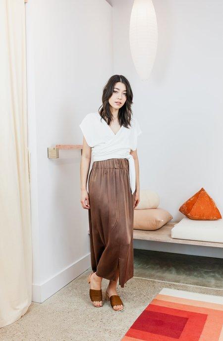 Miranda Bennett Silk Charmeuse Paper Bag Skirt - Acacia Iron V.I