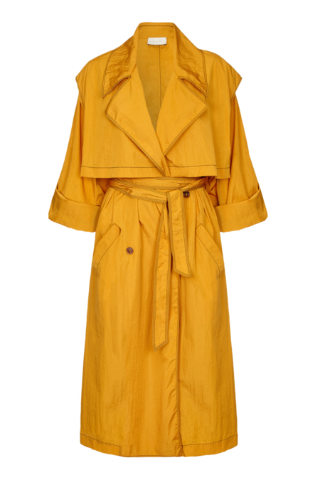 Arje Dione Water Resistant Trench Coat - Saffron