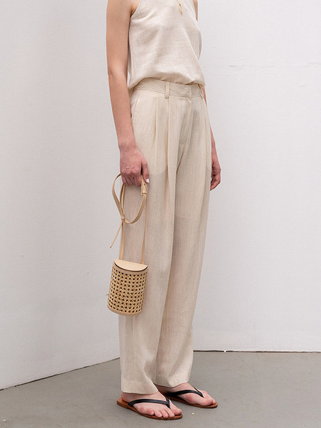 Kindersalmon Premium Wool Linen Tuck Straight Pants - Ivory