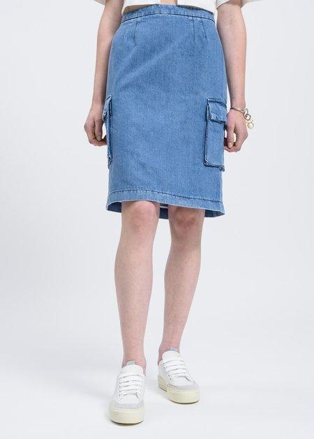 Sunnei Washed Denim Cargo Skirt - blue