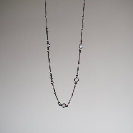 Iron Oxide Dotted Moonstone Choker - Opal/Gunmetal