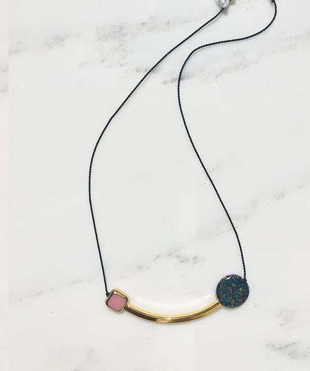 I. Ronni Kappos Square and Swirled Disk w/ Arc Necklace - Pink/Gold