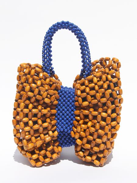 LISA FOLAWIYO Wooden Bow Top Handle Bag - Blue/Brown