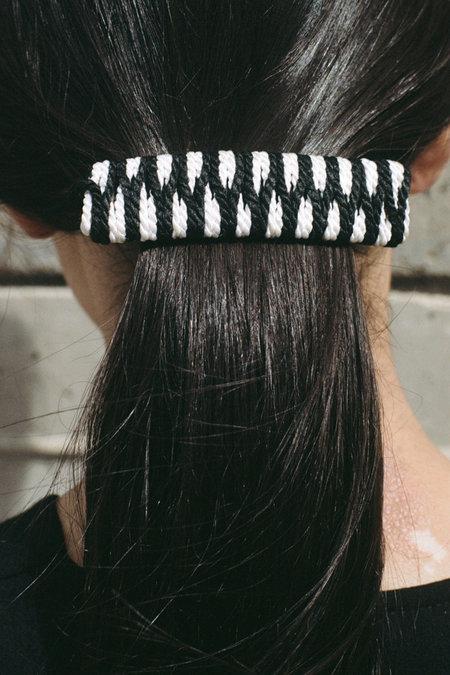 Vintage French Woven Barrette - black/white