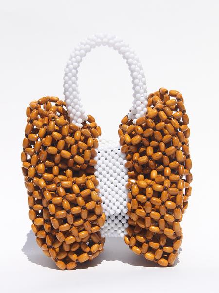 LISA FOLAWIYO Wooden Bow Top Handle Bag - White/Brown