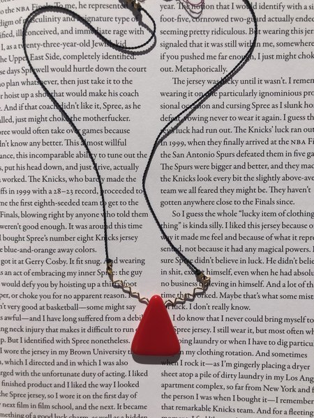 I. Ronni Kappos Triangle Squiggle Necklace - red