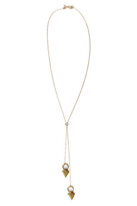 Dea Dia Shield Lariat Necklace Bronze