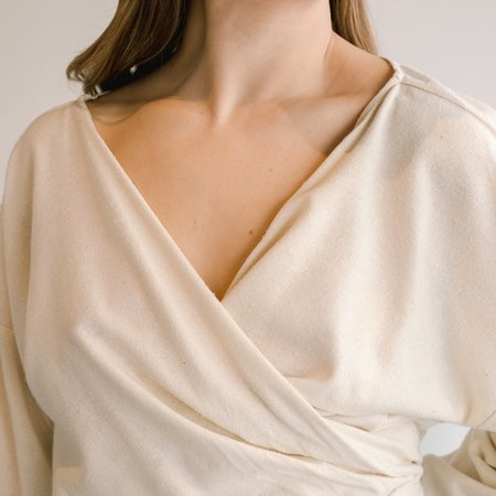 Miranda Bennett Silk Noil Wrap Top - Natural