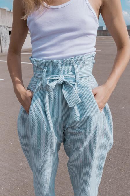 Suzanne Rae Dumpling Waist with Tie Waist - Blue/White