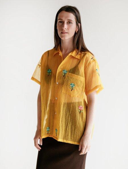 Bode Sheer Daisy Shirt - Orange