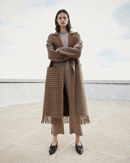 Nanushka ALAMO Robe coat with fringe - Brown check