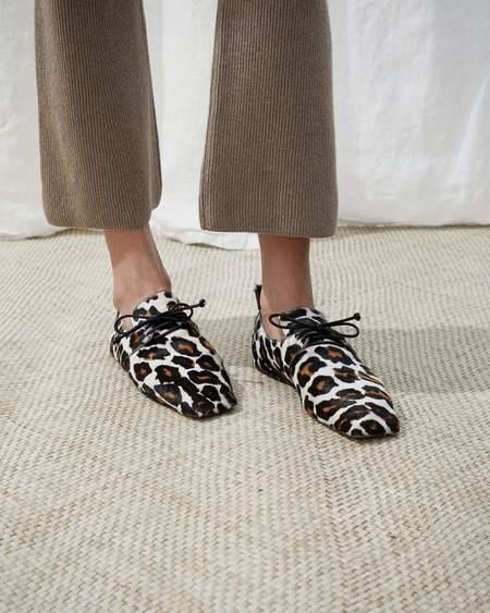 Nanushka EZ square toe flat shoes with lace - Ocelot