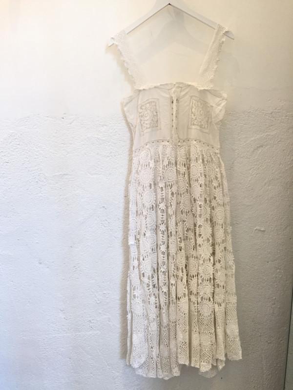 Place Nationale Skinny Strap Crochet Midi Dress