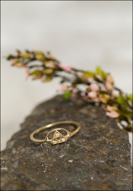 Lio and Linn Triple Triangle and Sun Ring - 14KT Gold/Diamond
