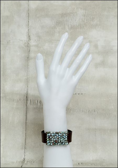 Martell Larimer Bead Cuff Bracelet - Pyrite/ Japanese Cube