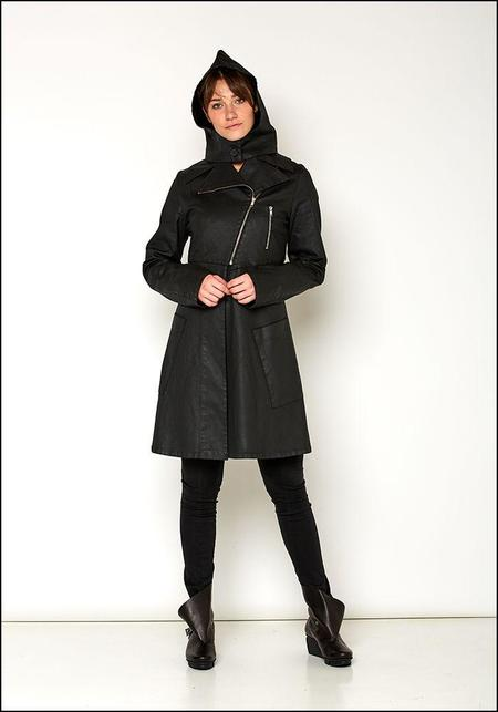 Lurdes Bergada Resin Zip Trench Coat - black