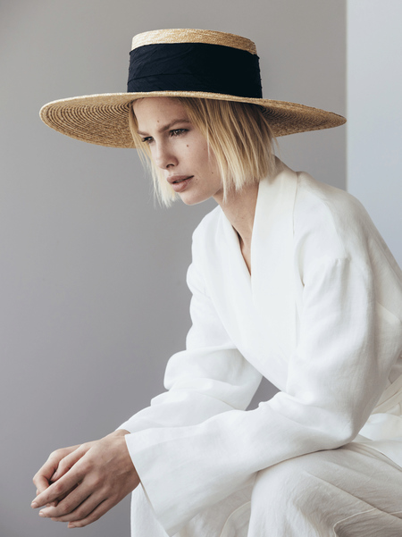 Janessa Leone Lucie Boater Hat - Natural