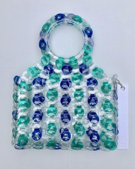 EE HANCRAFTED Large Square Vinyl Handbag - Blue/Green Stripe