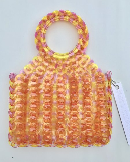 EE HANCRAFTED Large Square Vinyl Handbag - Pink/Orange Stripe