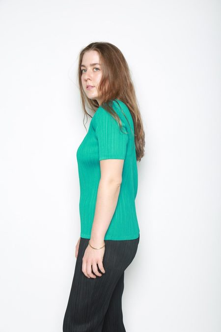 Issey Miyake Pleated Short Sleeve Top - Emerald Green