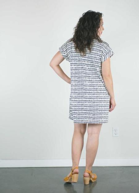 Atelier b. Jersey Straight Cut Dress - Ivory Pepita