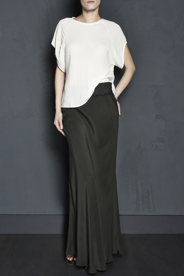 Maxi Bias Skirt with Leather Waistband