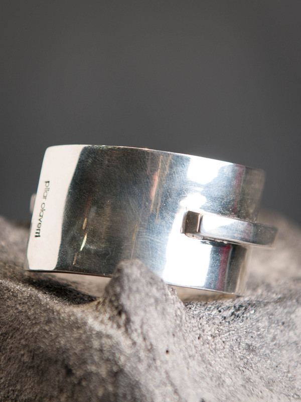 Pilar Olaverri Veneer Wood and Sterling Silver Cuff