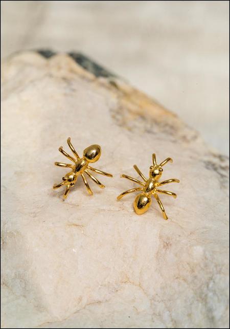 De La Rosa Ant Stud Earrings - Gold