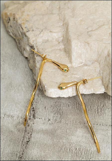 De La Rosa Snake Ear Jacket Earrings - Gold