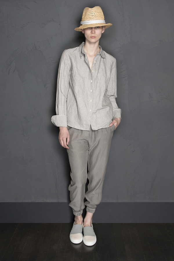 Raw Edge Linen Button Up