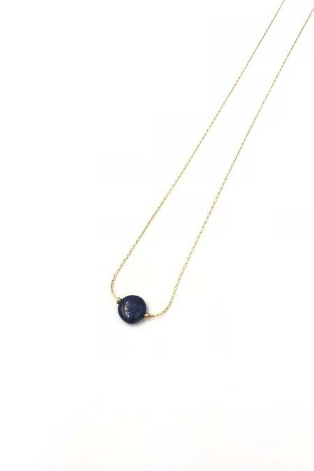 Marida Round Itty Bitty Necklace - Gold Fill/Lapis