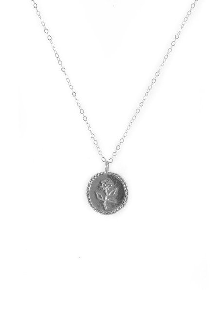 Wolf Circus Rose Coin Necklace - Silver
