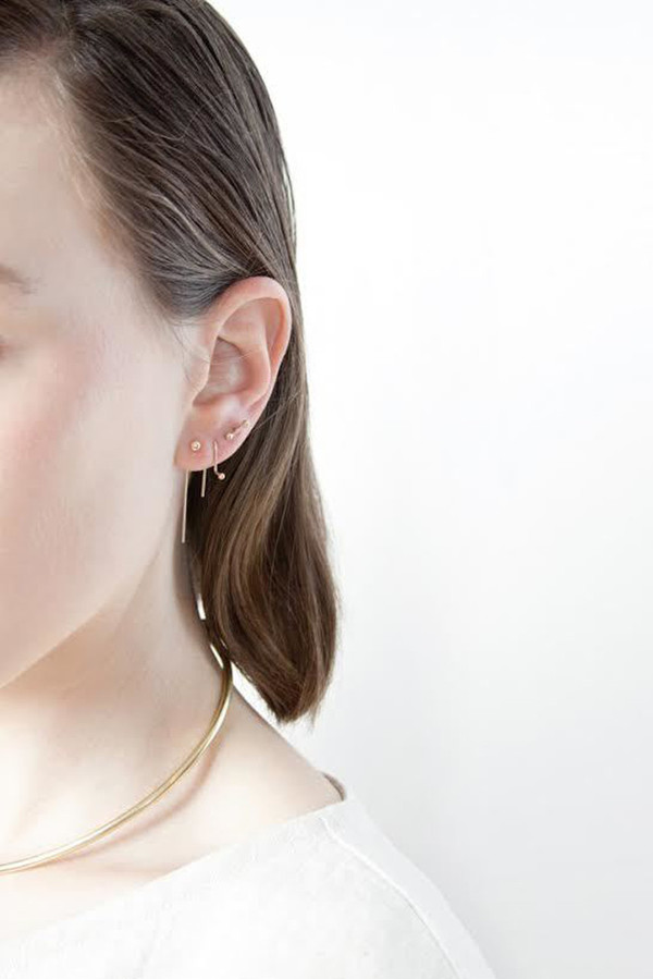 another feather slope earrings