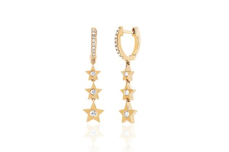 EF Collection DIAMOND HUGGIE WITH THREE GOLD AND DIAMOND STAR DROP EARRING - 14KY