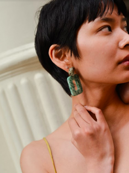 SVNR Dalkey Earrings - Pyrite/Moss Agate