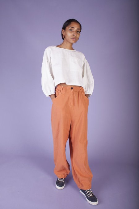 L.F.Markey Fat Boys Cotton Crepe Pants - Burnt Orange