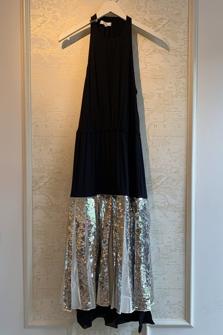 Tibi Claude Sequins Maxi Dress - Black/Metallic
