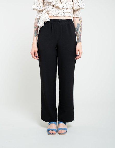 Ganni Heavy Crepe Wide Pants - Black