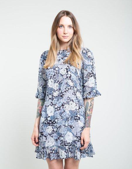 Ganni Printed Georgette Dress - Heather