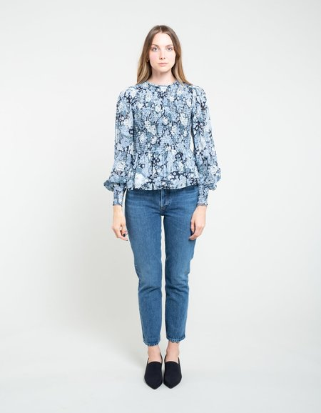 Ganni Printed Georgette Smock Blouse Heather - Heather