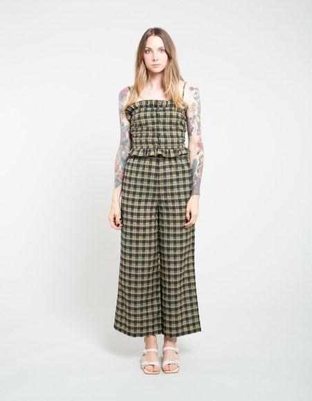 Ganni Seersucker Check Pants - Aloe