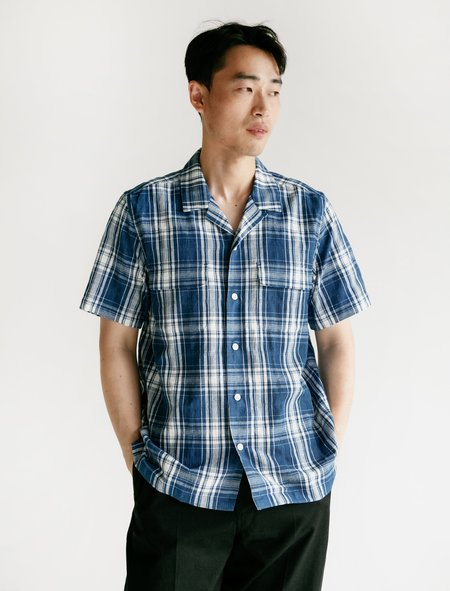 Niuhans Indigo Dobby Check Open Collar S/S Shirt - Light Indigo