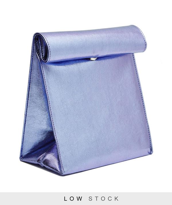 SMK Foldover Bag in Metallic Lilac