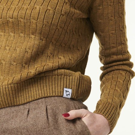 McIntyre Maria Cable Cropped Sweater - Caramel